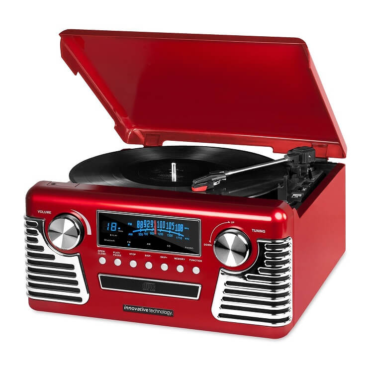Victrola 50's Retro Bluetooth Turntable with Stereo, CD Player and Speakers