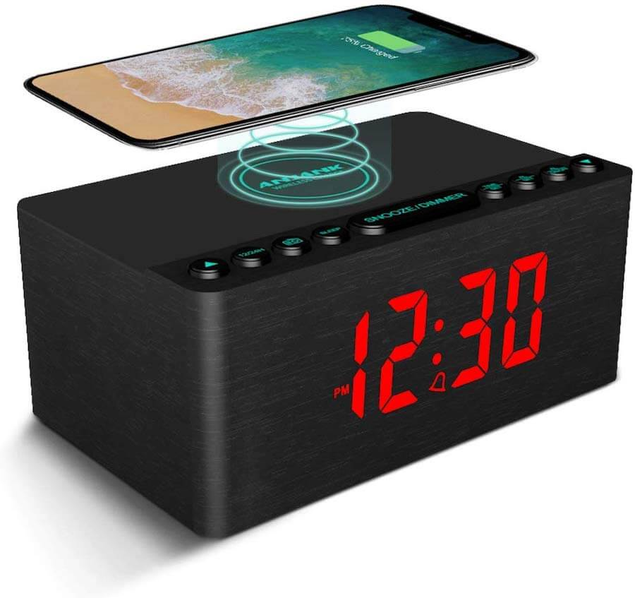 anjank wireless charging alarm clock